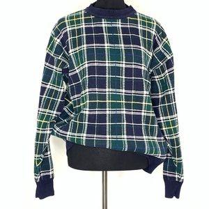 Vintage Woods & Gray Green Tartan Plaid Sweater L